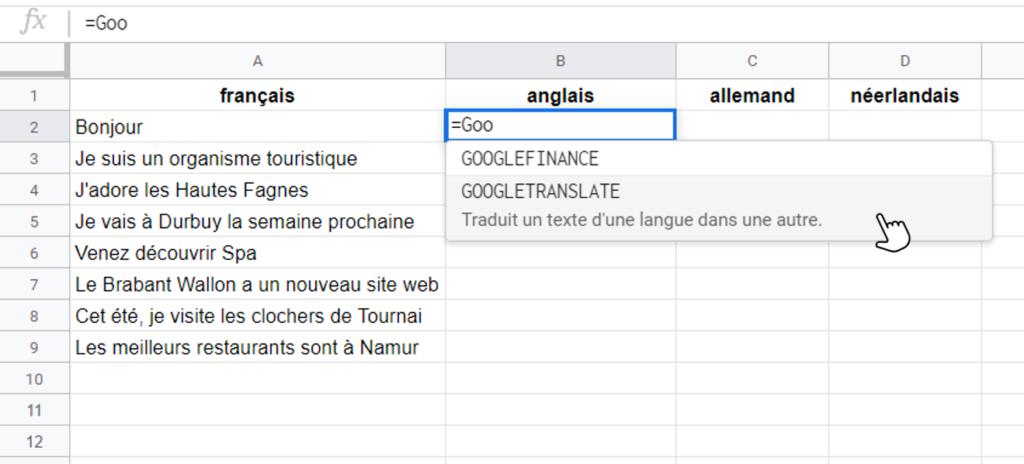 Capture d'écran formule Google translate dans Google Sheets