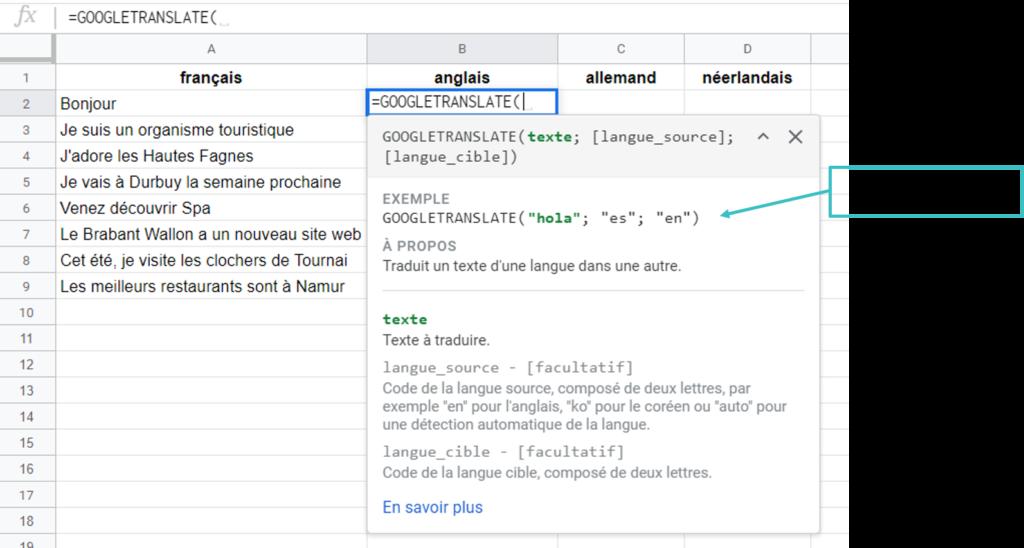 Capture d'écran de la fomule Google Translate dans Google Sheets