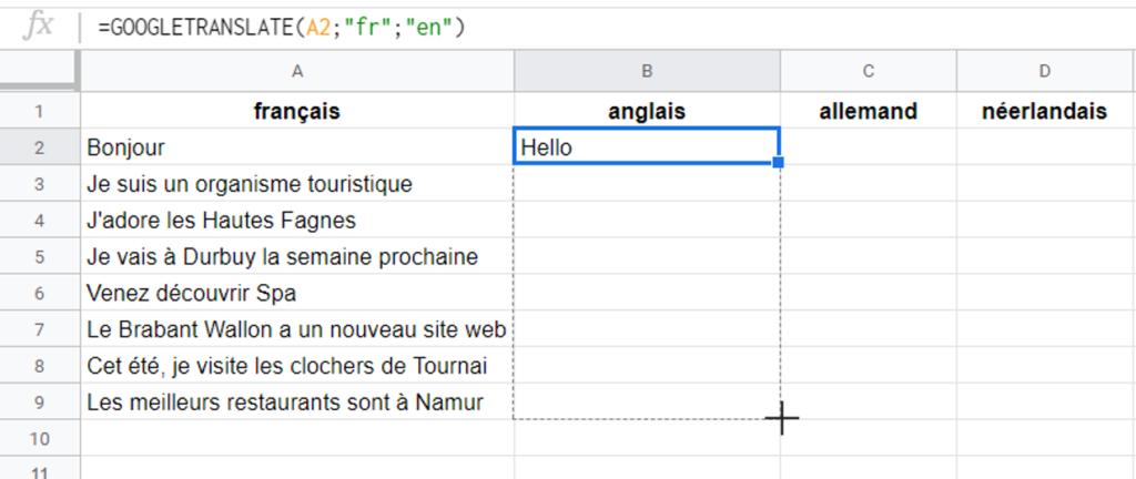 Capture d'écran de la formule Google Translate dans Google Sheets