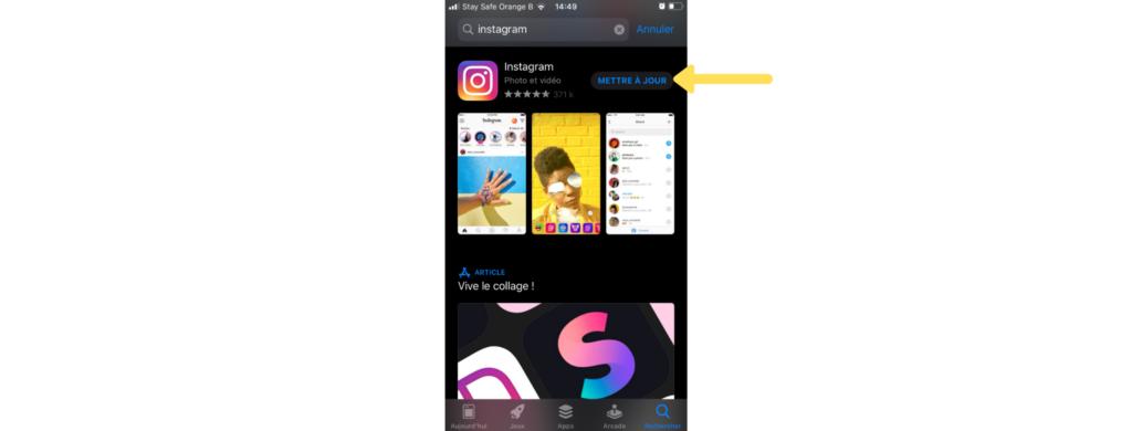 Afin d'utiliser la fonctionnalité Reels, il faut s'assurer que votre application Instagram est bien à jour