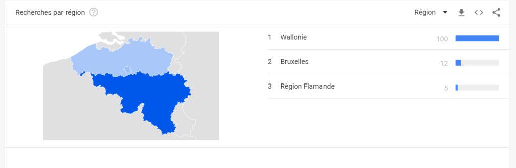 Répartition géographique de termes dans Google Trends.