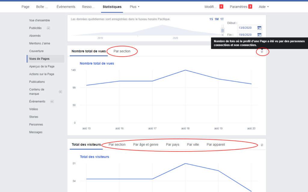 Statistiques Facebook - Vues de Pages