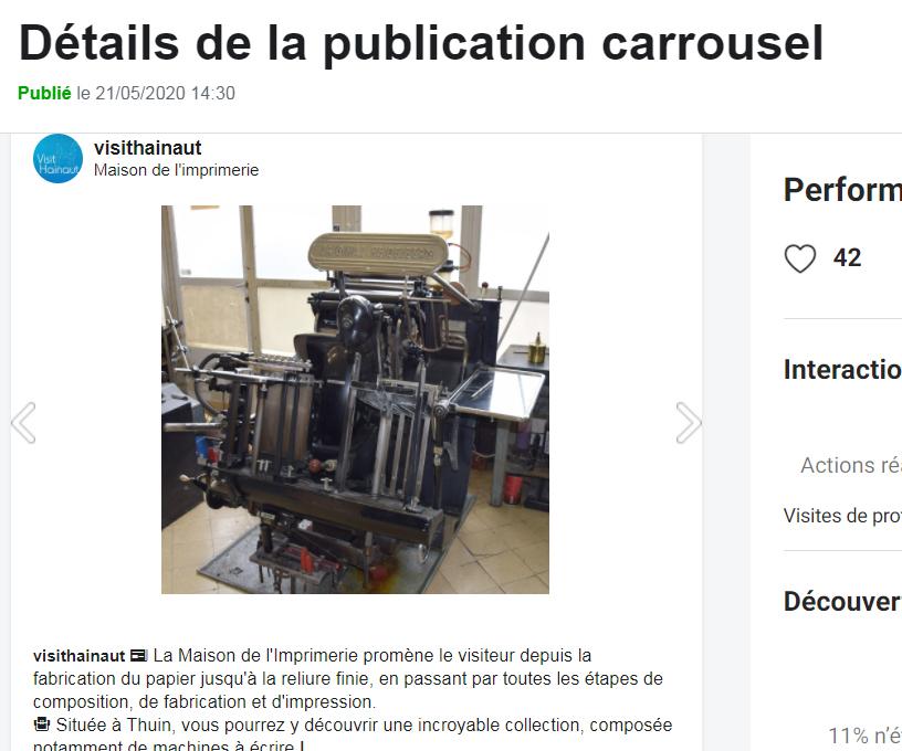 Exemple de publication Carrousel sur Creator Studio