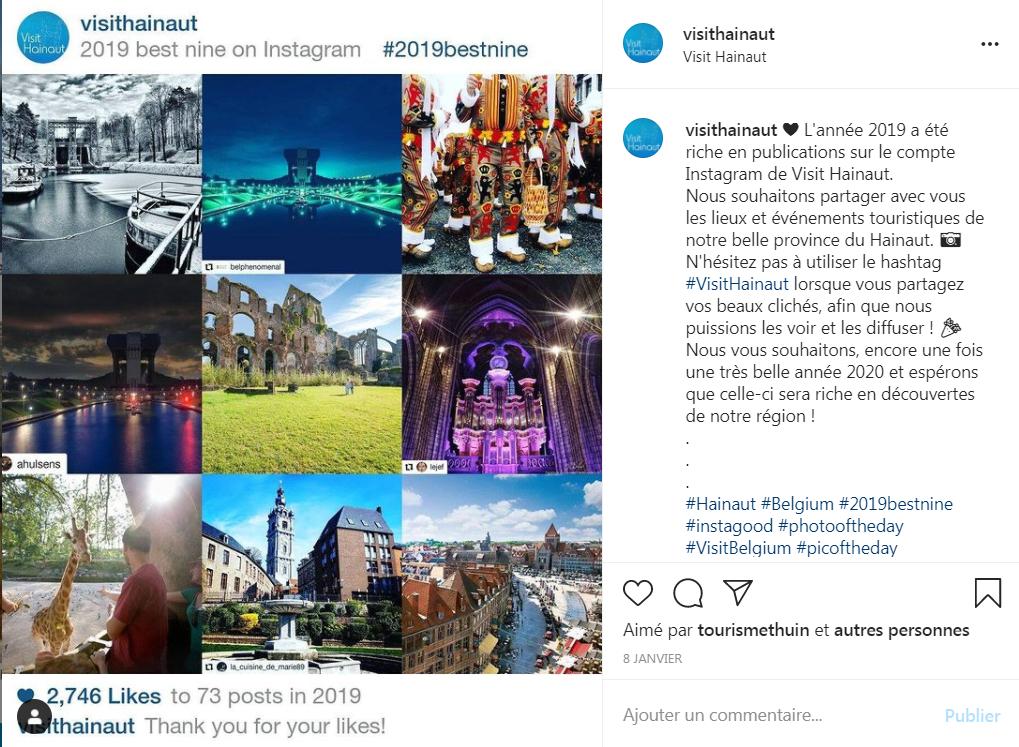 Exemple de publication Best Nine Instagram